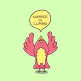 Gekritzelvogel mit Spracheblase Stockfotografie