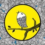 Gekritzelvogel und der Mond lizenzfreie abbildung