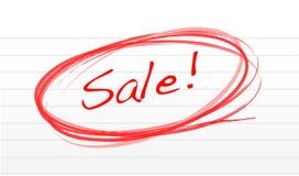 Gekritzelwortverkauf auf einem Notizblockpapier Stockfoto
