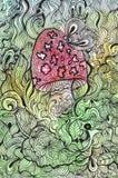 Gekritzelzeichnung des Pilzes und des Schmetterlinges. Stockfoto