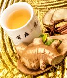 Gekruid Ginger Tea Cup Represents Refreshing en Drank stock fotografie