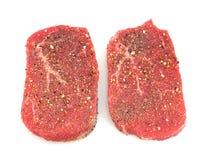 Gekruid het rundvleesoog van Angus om lapje vlees Stock Afbeelding