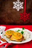 Gekruide Oranje Braadstukkip met Rijst, Kerstmisatmosfeer, selectieve nadruk, uitstekend effect, exemplaarruimte voor uw tekst royalty-vrije stock foto's