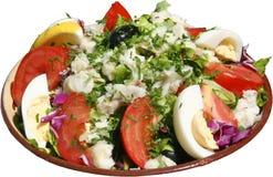 Gekruide salade met groenten, eieren, tomaten en kruiden Royalty-vrije Stock Afbeeldingen