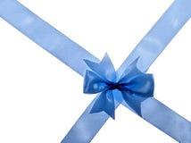 Gekruist blauw lint Stock Foto's