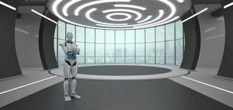 Gekruiste de robot overhandigt Futuristische Zaal stock illustratie