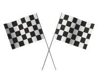 De winnaars kruisten geruite vlaggen Stock Foto's