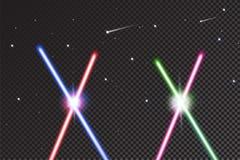 Gekruiste lichte zwaarden op zwarte achtergrond met sterren Realistische heldere kleurrijke laserstralen Vector illustratie Royalty-vrije Stock Fotografie