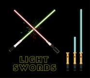Gekruiste lichte zwaarden Vlak stijl infographic ontwerp Stock Afbeelding