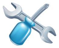 Gekruiste moersleutel en schroevedraaierhulpmiddelen Royalty-vrije Stock Afbeelding