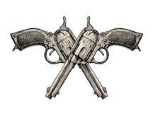 Gekruiste pistolen Uitstekend vectorkanon, pistool, pistool Retro revolver Royalty-vrije Stock Afbeelding