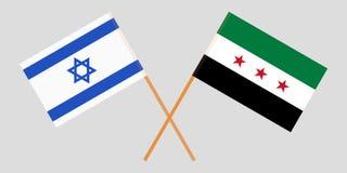 Gekruiste Syrische Nationale Coalitie en van Israël vlaggen Officiële kleuren Correct aandeel Vector vector illustratie
