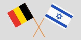 Gekruiste vlaggen Israël en België Officiële kleuren Correct aandeel Vector vector illustratie