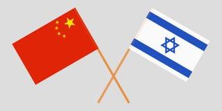 Gekruiste vlaggen Israël en China Officiële kleuren Correct aandeel Vector vector illustratie