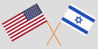 Gekruiste vlaggen Israël en de V.S. Officiële kleuren Correct aandeel Vector royalty-vrije illustratie