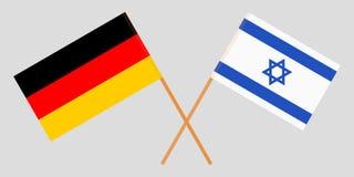 Gekruiste vlaggen Israël en Duitsland Officiële kleuren Correct aandeel Vector vector illustratie