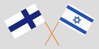 Gekruiste vlaggen Israël en Finland Officiële kleuren Correct aandeel Vector royalty-vrije illustratie