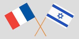 Gekruiste vlaggen Israël en Frankrijk Officiële kleuren Correct aandeel Vector royalty-vrije illustratie