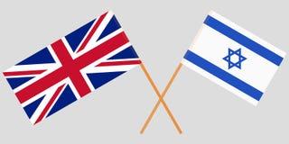 Gekruiste vlaggen Israël en het UK Officiële kleuren Correct aandeel Vector royalty-vrije illustratie