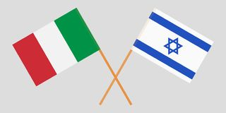 Gekruiste vlaggen Israël en Italië Officiële kleuren Correct aandeel Vector royalty-vrije illustratie