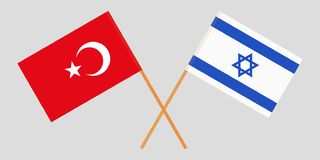 Gekruiste vlaggen Israël en Italië Officiële kleuren Correct aandeel Vector stock illustratie
