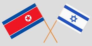 Gekruiste vlaggen Israël en Noord-Korea Officiële kleuren Correct aandeel Vector royalty-vrije illustratie