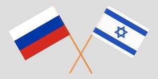 Gekruiste vlaggen Israël en Rusland Officiële kleuren Correct aandeel Vector stock illustratie