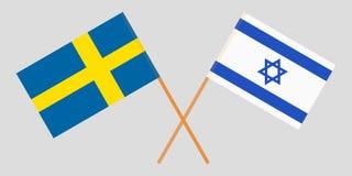 Gekruiste vlaggen Israël en Zweden Officiële kleuren Correct aandeel Vector stock illustratie