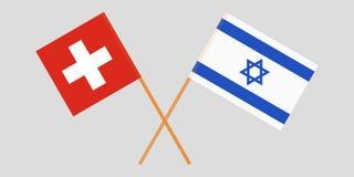 Gekruiste vlaggen Israël en Zwitserland Officiële kleuren Correct aandeel Vector stock illustratie