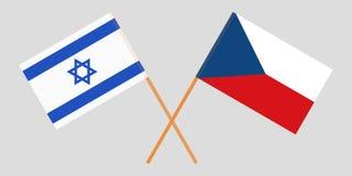 Gekruiste vlaggen van Tsjechische Republiek en Israël Officiële kleuren Correct aandeel Vector stock illustratie