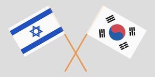 Gekruiste vlaggen Zuid-Korea en Israël Officiële kleuren Correct aandeel Vector royalty-vrije illustratie