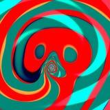 Gekruld psychedelisch thongue Computer Art Illustration Moderne stijl Het beeld van het concept Abstract decoratieelement Achterg Stock Afbeelding