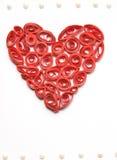 Gekruld rood die hart van document wordt gemaakt Royalty-vrije Stock Afbeelding