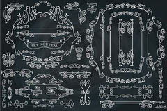 Gekrulde kalligrafische geplaatste ontwerpelementen, het Wervelen Stock Afbeelding