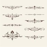 Gekrulde kalligrafische ontwerpelementen voor embleem Stock Fotografie
