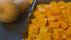 Gekubeerde butternut pompoen Royalty-vrije Stock Fotografie
