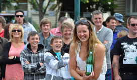 Gelächter am Weltbuskers-Festival Lizenzfreies Stockfoto