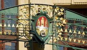 Geländer mit Wappen Stockfotografie