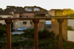 Geländer und Sonne Stockfoto