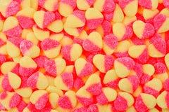 Gelé l saftig sötsakbakgrund Jelly Hearts arkivbild