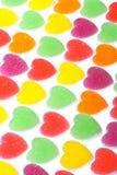 Gelée colorée de forme de coeur enduite du sucre Photo stock