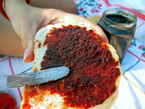 Gelée de propagation sur le pain grillé Photographie stock libre de droits
