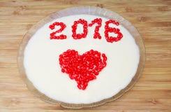 Gelée du dessert de nouvelle année avec une inscription 2016 Image libre de droits