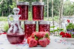 Gelée et sirop faits maison de fraise photographie stock libre de droits