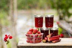 Gelée fraîche de rhubarbe de fraise photo stock