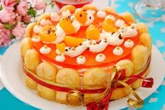 Gelée orange et torte crème fouetté images libres de droits