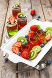 Gelée rouge et verte servie avec le fruit images libres de droits