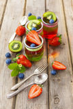 Gelée rouge et verte servie avec le fruit photos libres de droits