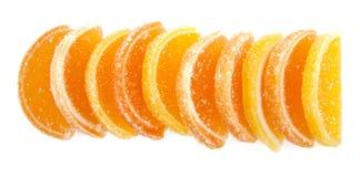 geléer för datalista för bakgrundsgodisar göra gelé av citrus isolerade frukt vita lobules Royaltyfri Bild