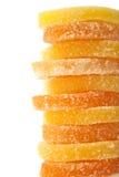 geléer för datalista för bakgrundsgodisar göra gelé av citrus isolerade frukt vita lobules Royaltyfria Foton